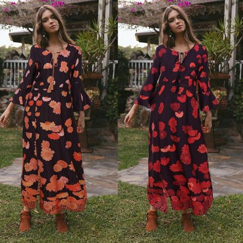 2020 Summer Woman Dresses Boho Fashion Casual Floral Print V-Neck 3/4 Flare Sleeve Ankle-Length High Waist Loose Woman Dress