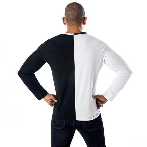 Personalized Stitching V-Neck   Pullover Slim Long-Sleeved T-Shirt