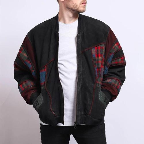 Fashionable zipper stitched plaid pattern jacket