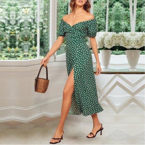 Elegant Off-Shoulder Printed Colour Split Dress