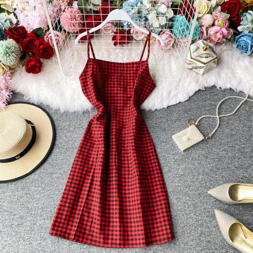 JOYMANMALL Women Summer Plaid Strap Dress Korean Style Vintage Sexy Backless A-line Dress French Romantic Holiday Beach Sundress