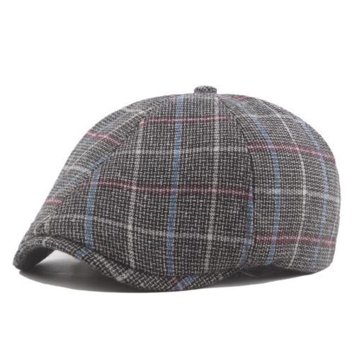 Men Casual Painter Plaid Warm Hat Fashion Newsboy Beret Cap