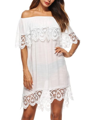 Off Shoulder  Decorative Lace  Plain Casual Dresses