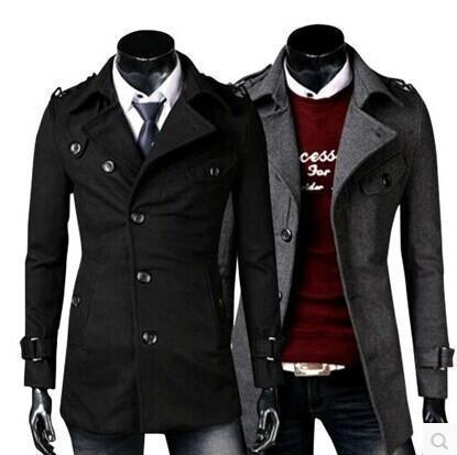 Fashion Lapel Collar Plain Double Button Long Coat