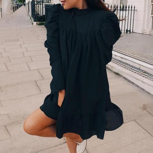 Casual solid color long sleeve stand collar pleated dress