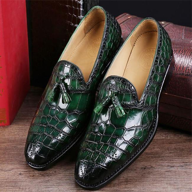 Classic Alligator Leather Tassel Comfortable Slip-On Loafers