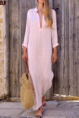 Women Maxi Dress Long Sleeve V-Neck Loose Plain Casual Dress