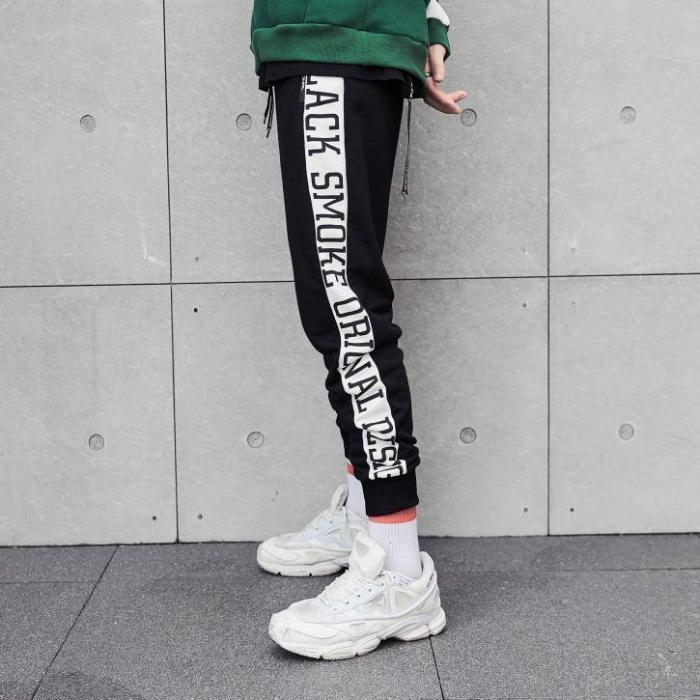 Contrast Stripes Letters Elastic Men's Sweatpants Casual Pants