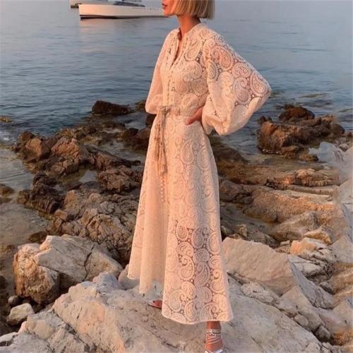 Women's V-Neck Lace Hollow Dress