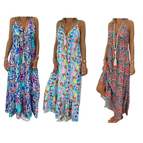 Plus Size Womens Boho Floral Maxi Dress Party Strappy Summer Beach Holiday Spaghetti Strap Sundress  S-5XL