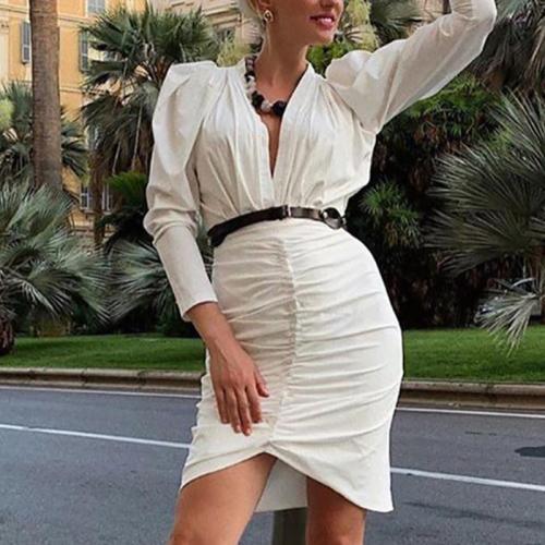 Fashion Pure Color Deep V Spliced Dress
