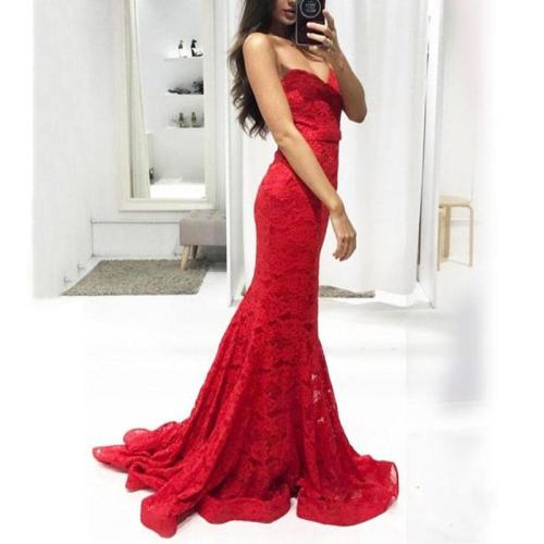 Fashion Red Wrapped Chest Fishtail Mopping Dress