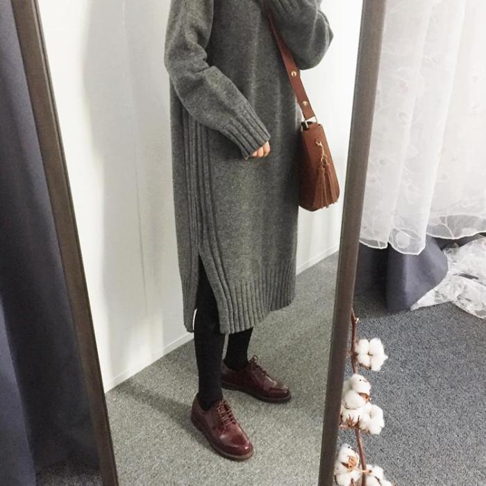 Fashion Long Sleeve Loose Flattering Knitted Maxi Dress Evening Dress