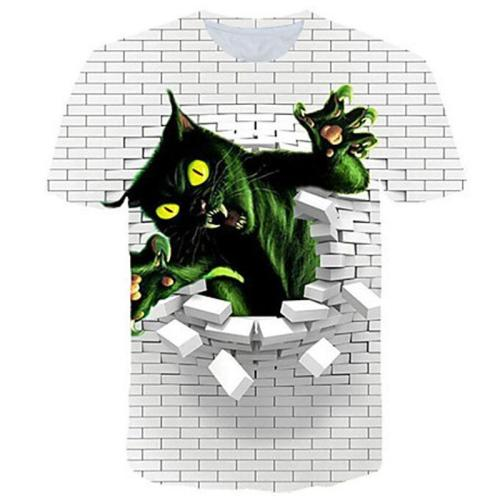 Big and Tall 3D Pink Floyd The Wall and Cat Print Men T-shirt Tee Tops