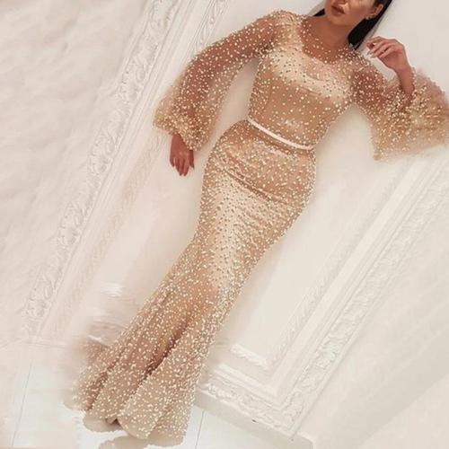 Elegant Round Neck Long Sleeve Evening Maxi Dress
