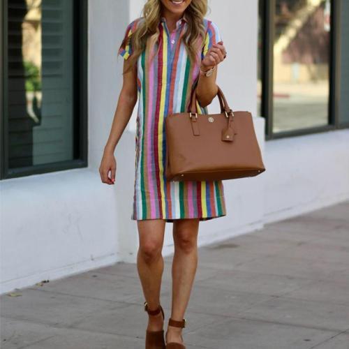 Sexy Fashion Striped Lapel Short Sleeve Dress