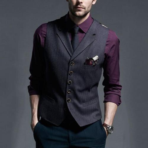 Temperament business V-neck single-row button slim vest
