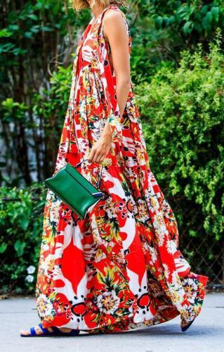 V-Neck Sleeveless Sling Bohemia Dress Sexy Vintage Long Print Floral Maxi Dresses Women Plus Size Maxi Dresses