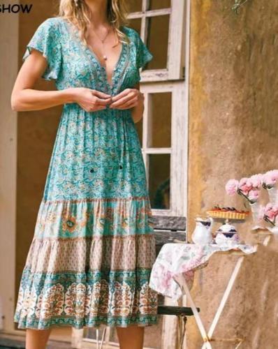 BOHO Location Paisley Floral Print Knee-Length Beach Maxi Dresses