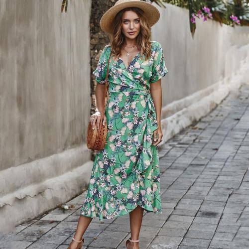 Floral Print Ruffles Bohemia Dresses Women Sexy V Neck Short Sleeve Summer Dress Casual Lace Up Irregular Midi Beach Dress Femme