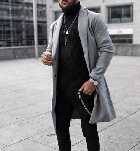Men's casual turndown collar pure color loose coat