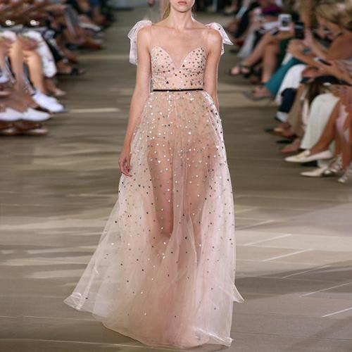Women's Elegant Sequin Off-Shoulder Sling Evening Dress