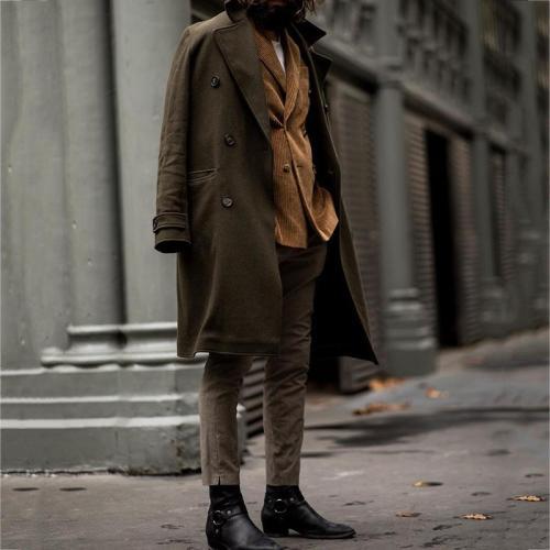 VintageA Lapel Pure Color Long Sleeve Coat