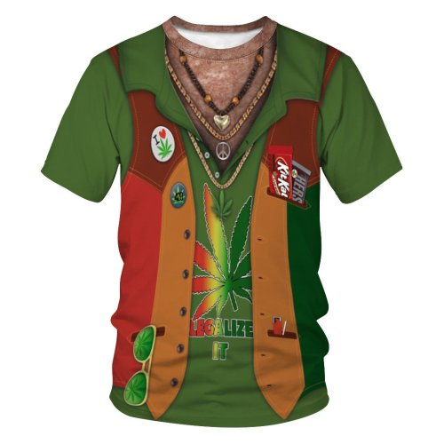 3D Fake Vest Marijuana Printed Funny Men T-shirt Loose Casual Novelty Short Sleeve Tees Top