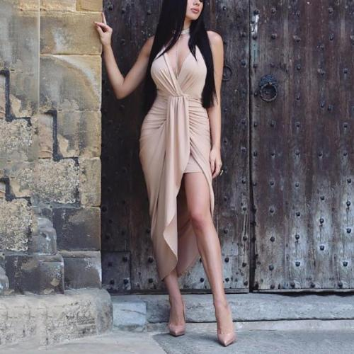 Women's Deep V Neck Sleeveless Ruched Pure Color Dress