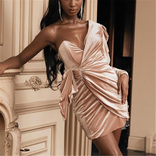 Sexy Pure Color Single Shoulder Collar Dress