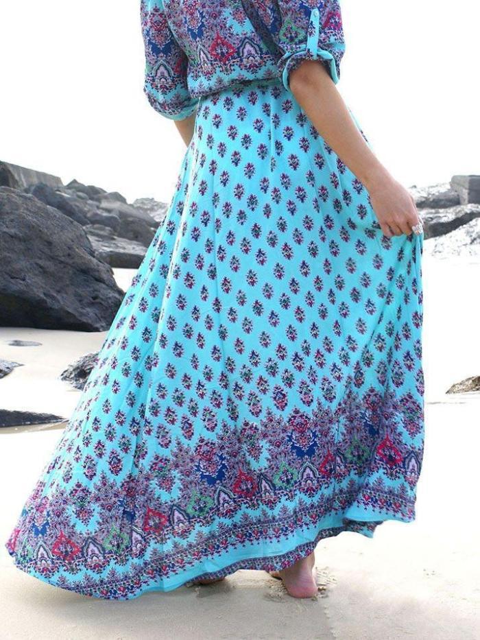 Pretty Bohemia Floral V Neck Half Sleeve Front Split Maxi Dress