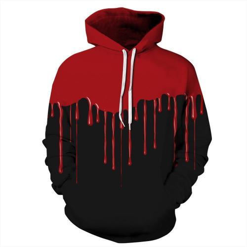 Red Paint Printed Hooded Sweatshirt