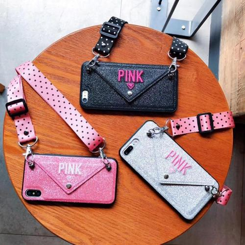 Luxury PINK Glitter Embroidery Leather Case for iPhone Case & Lanyard