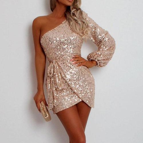 Women Fashion Solid Color Sloping Shoulder Sequin Dress
