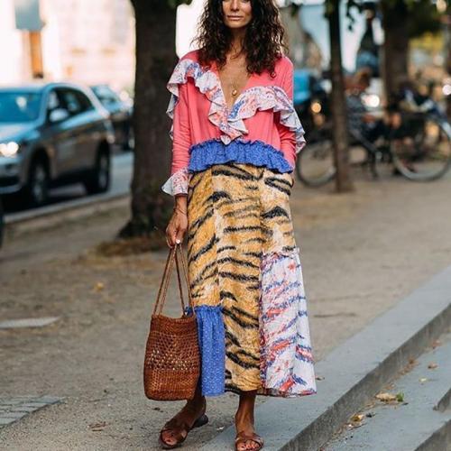 Fashion V Neck Ruffled Long Sleeve Layered Skirt