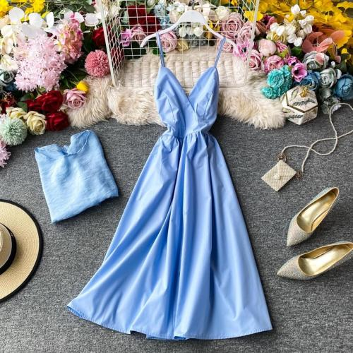 JOYMANMALL Women Summer 2020 New Fashion Simple Two Pieces Set Sexy Backless V Neck Strap Midi Dress+Loose O Neck Solid Tops