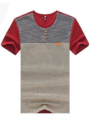 Men Color Block Patchwork Round Neck Slim Sports T shirt
