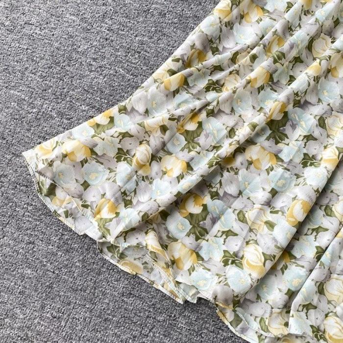 JOYMANMALL Women Summer Sweet Floral Dress Korean Square Collar Ruched A-line Midi Dress French Bohemian Print Beach Sundress