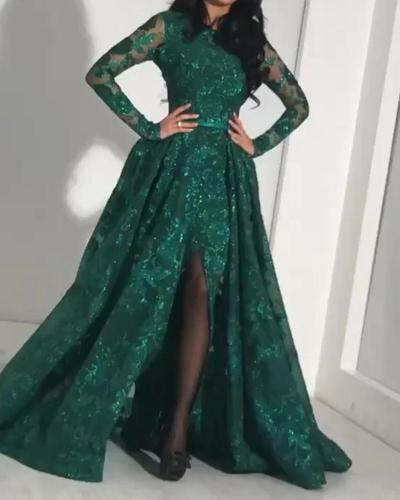 Long Sleeve Lace Sexy Evening Dress