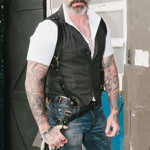 Fashion Striped Pocket Slim Men's Vest