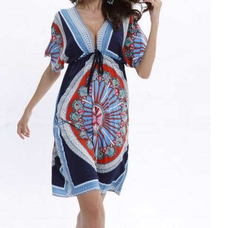 Boho Summer Women Dress 2019 Sexy Deep V  Print White Beach Dresses Tunic Woman SunDress milk silk dress clothes Mini dress
