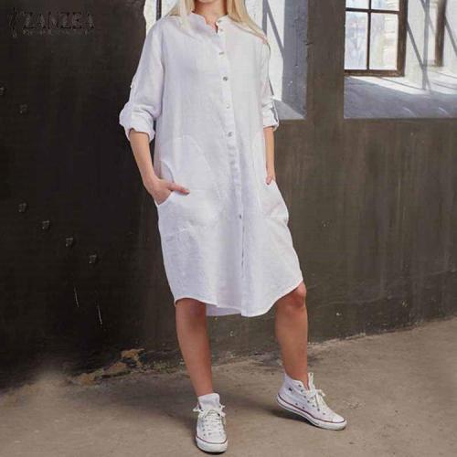 Fashion Round Collar Button Plain Shift Dress