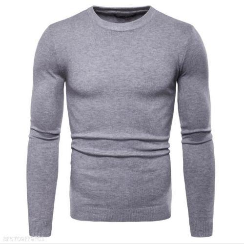 Fashion Mens Slim Plain Long Sleeve Sweater