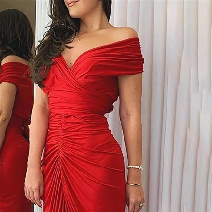 One-word Shoulder Pleated Tight Slit Dress