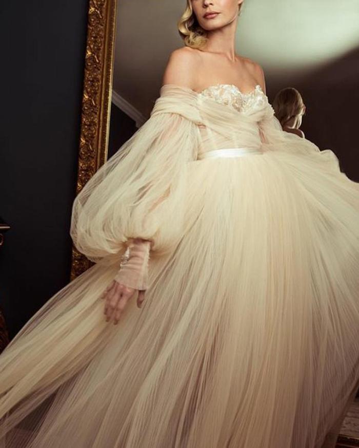 Sexy One Word Collar Mesh Bubble Sleeve Wedding Evening Dresses