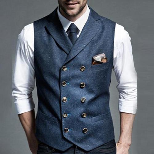 Formal Pure Color Decorative buckle Men's Vest