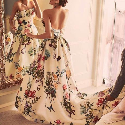 Sexy Off Shoulder Floral Printed Belt Maxi Dress