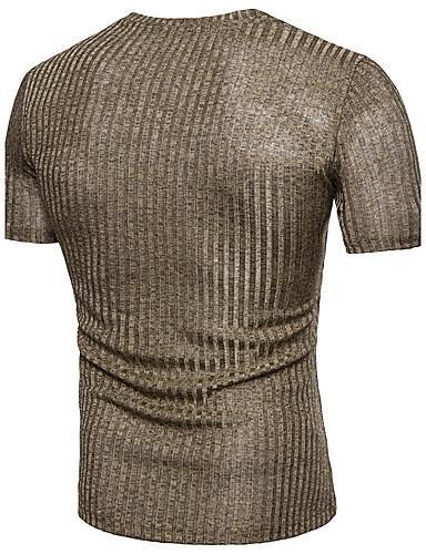 Men Basic Solid Colored V Neck  Cotton T shirt