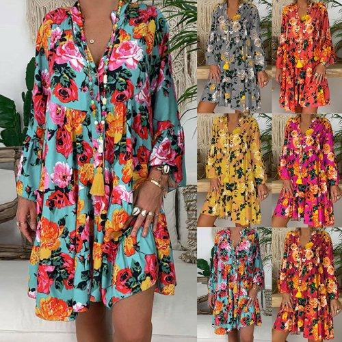 Women's Dress Ladies Loose Print Three Quarter Sleeve V-neck Mini Dress Summer Dress Female Fashion Vestidos Plus Size M40#