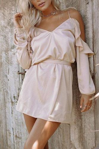 Spaghetti Strap  Belt  Plain  Long Sleeve Casual Dresses